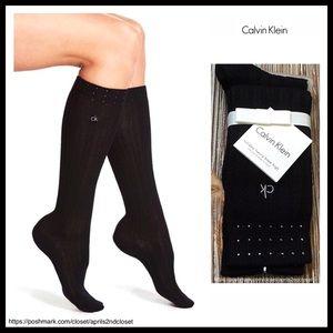 CALVIN KLEIN BLACK CRYSTAL ACCENT BOOT SOCKS